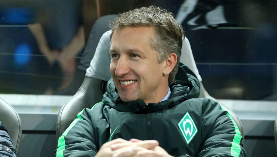 BERLIN, GERMANY - DECEMBER 10:  Manager Frank Baumann of Bremen looks on prior to the Bundesliga match between Hertha BSC and SV Werder Bremen at Olympiastadion on December 10, 2016 in Berlin, Germany. (Photo by Matthias Kern/Bongarts/Getty Images)