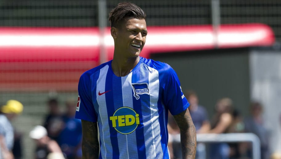 HERNE, GERMANY - JULY 08: Davie Selke of Hertha BSC looks on during the TEDi-Cup match between Hertha BSC and Westfalia Herne on July 8, 2018 in Herne, Germany. (Photo by TF-Images/Getty Images)