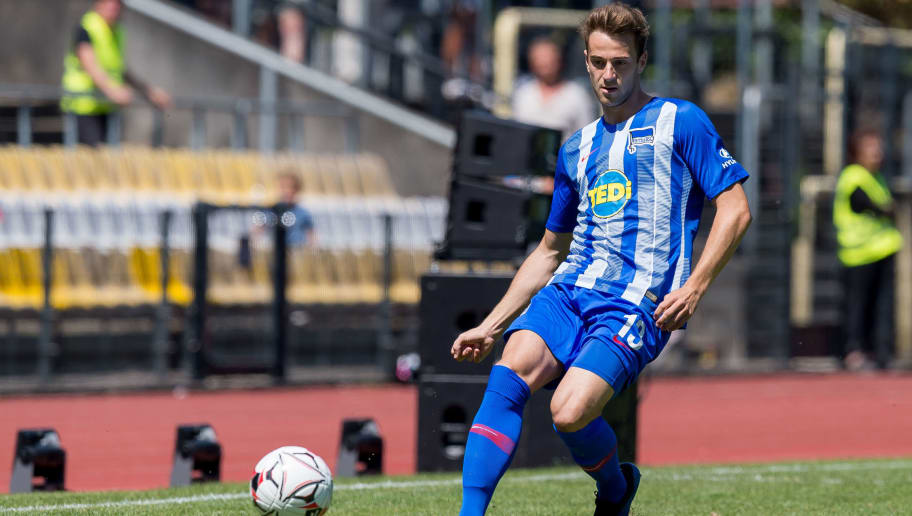 HERNE, GERMANY - JULY 08: Lukas Kluenter of Hertha BSC controls the ball during the TEDi-Cup match between Hertha BSC and Westfalia Herne on July 8, 2018 in Herne, Germany. (Photo by TF-Images/Getty Images)