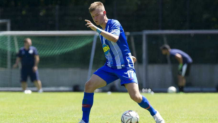 HERNE, GERMANY - JULY 08: Maximilian Mittelstaedt of Hertha BSC controls the ball during the TEDi-Cup match between Hertha BSC and Westfalia Herne on July 8, 2018 in Herne, Germany. (Photo by TF-Images/Getty Images)