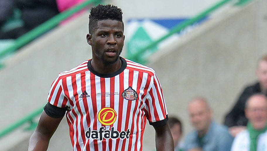 EDINBURGH, SCOTLAND - JULY 09: Papy Djilobodji of Sunderland in action during the pre season friendly between Hibernian and Sunderland at Easter Road on July 9, 2017 in Edinburgh, Scotland. (Photo by Mark Runnacles/Getty Images)