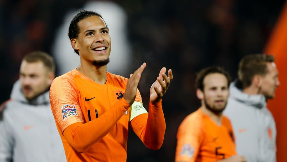 ROTTERDAM, NETHERLANDS - NOVEMBER 16: Virgil van Dijk of Holland, celebrate the victory after the game during the  UEFA Nations league match between Holland  v France  at the Feyenoord Stadium on November 16, 2018 in Rotterdam Netherlands (Photo by Erwin Spek/Soccrates/Getty Images)
