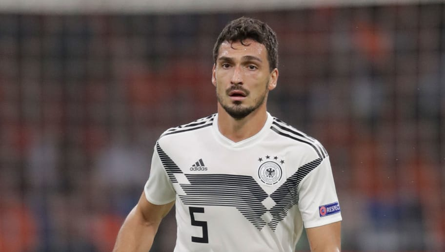 AMSTERDAM, NETHERLANDS - OCTOBER 13: Mats Hummels of Germany  during the  UEFA Nations league match between Holland  v Germany  at the Johan Cruijff Arena on October 13, 2018 in amsterdam Netherlands (Photo by Laurens Lindhout/Soccrates /Getty Images)