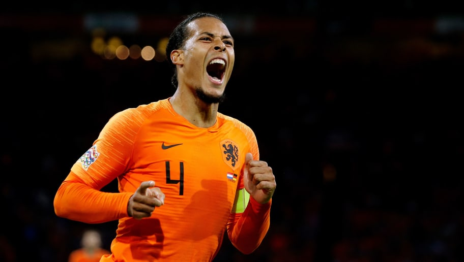 AMSTERDAM, NETHERLANDS - OCTOBER 13: Virgil van Dijk of Holland celebrates 1-0  during the  UEFA Nations league match between Holland  v Germany  at the Johan Cruijff Arena on October 13, 2018 in amsterdam Netherlands (Photo by Laurens Lindhout/Soccrates /Getty Images)