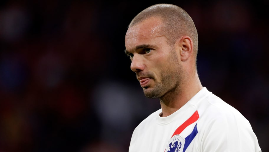 AMSTERDAM, NETHERLANDS - SEPTEMBER 6: Wesley Sneijder of Holland  during the  International Friendly match between Holland  v Peru  at the Johan Cruijff Arena on September 6, 2018 in Amsterdam Netherlands (Photo by Soccrates/Getty Images)