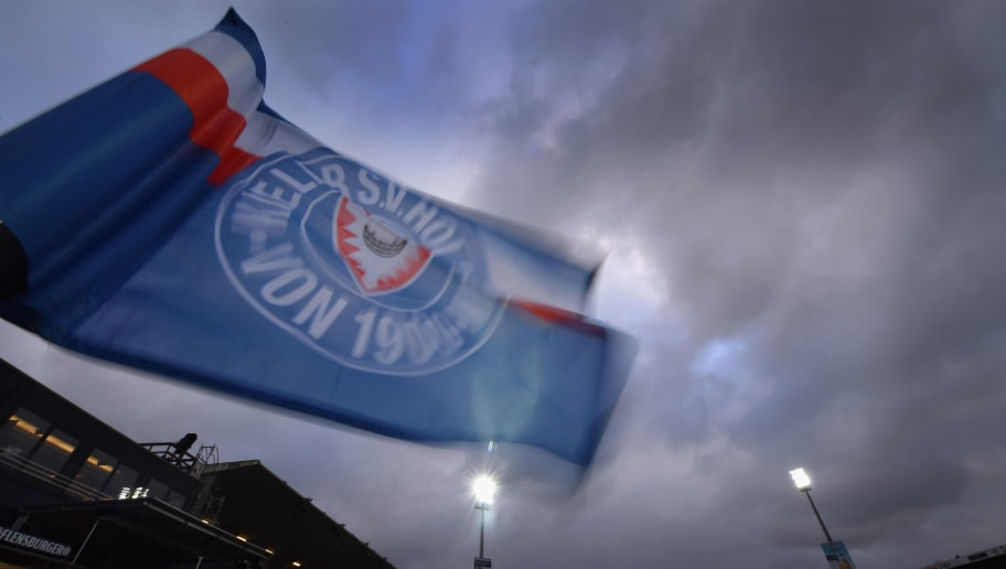 KIEL, GERMANY - MARCH 16: A detailed view of a corner flag in the wind prior to the Second Bundesliga match between Holstein Kiel and 1. FC Heidenheim 1846 at Holstein-Stadion on March 16, 2018 in Kiel, Germany.  (Photo by Stuart Franklin/Bongarts/Getty Images)