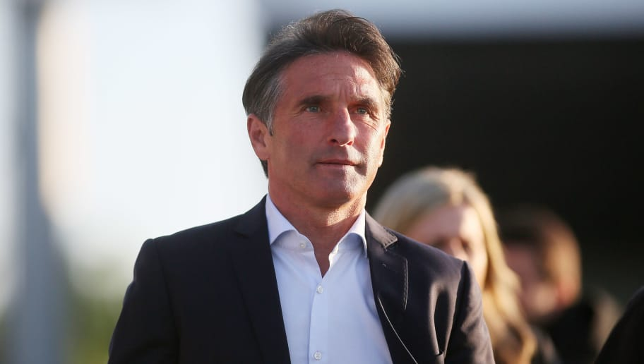 KIEL, GERMANY - MAY 21: Headcoach Bruno Labbadia of VfL Wolfsburg during the Bundesliga Playoff Leg 2 between Holstein Kiel and VfL Wolfsburg at Holstein-Stadion on May 21, 2018 in Kiel, Germany. (Photo by Selim Sudheimer/Bongarts/Getty Images)