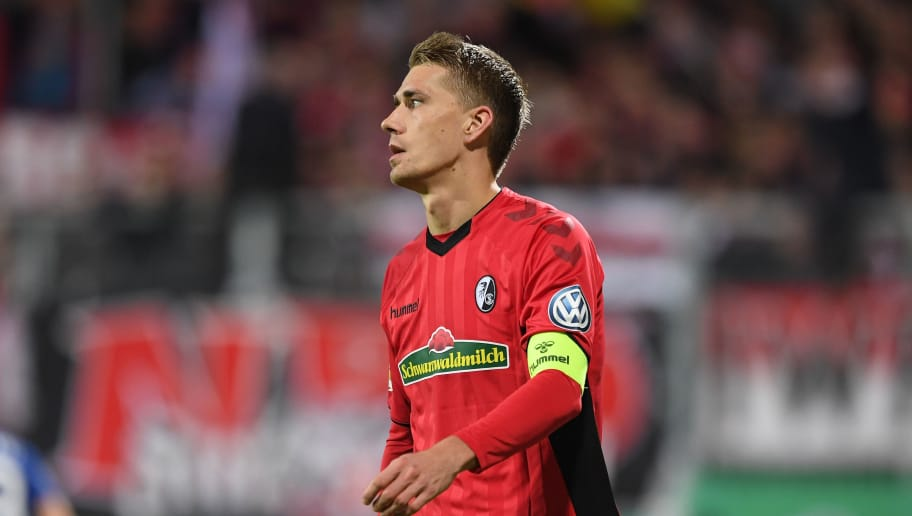 KIEL, GERMANY - OCTOBER 31: Nils Petersen of Freiburg looks dejected during the DFB Cup second round match between Hostein Kiel and SC Freiburg at Holstein-Stadion on October 31, 2018 in Kiel, Germany. (Photo by Oliver Hardt/Bongarts/Getty Images)