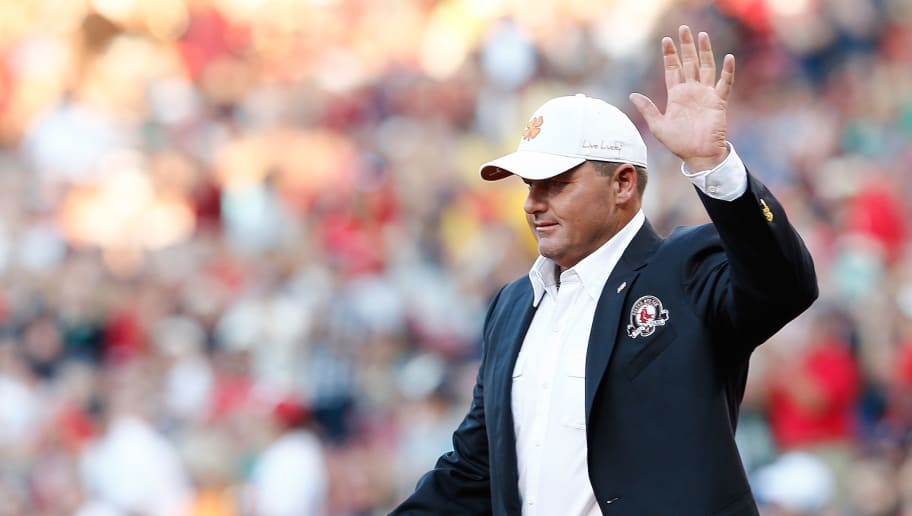 BOSTON, MA - AUGUST 14:  Former Boston Red Sox pitcher Roger Clemens walks on the field after being inducted into the Red Sox Hall of Fame before a game between the Red Sox and the Houston Astros at Fenway Park on August 14, 2014 in Boston, Massachusetts.  (Photo by Jim Rogash/Getty Images)