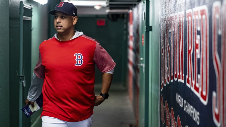 BOSTON, MA - SEPTEMBER 7: Manager Alex Cora of the Boston Red Sox walks through the tunnel before a game against the Houston Astros on September 7, 2018 at Fenway Park in Boston, Massachusetts. (Photo by Billie Weiss/Boston Red Sox/Getty Images)