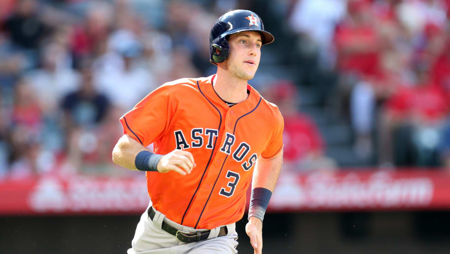 ANAHEIM, CA - JULY 21:  Kyle Tucker #3 of the Houston Astros runs during the game against the Los Angeles Angels at Angel Stadium on July 21, 2018 in Anaheim, California.  The Astros defeated the Angels 7-0.  (Photo by Rob Leiter/MLB Photos via Getty Images)