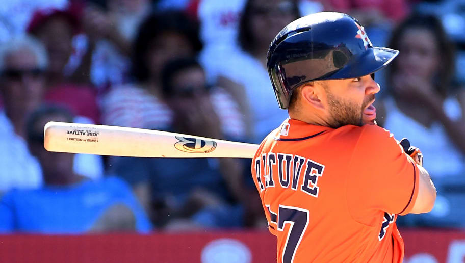 ANAHEIM, CA - JULY 22:  Jose Altuve #27 of the Houston Astros at bat in the game against the Los Angeles Angels of Anaheim at Angel Stadium on July 22, 2018 in Anaheim, California.  (Photo by Jayne Kamin-Oncea/Getty Images)