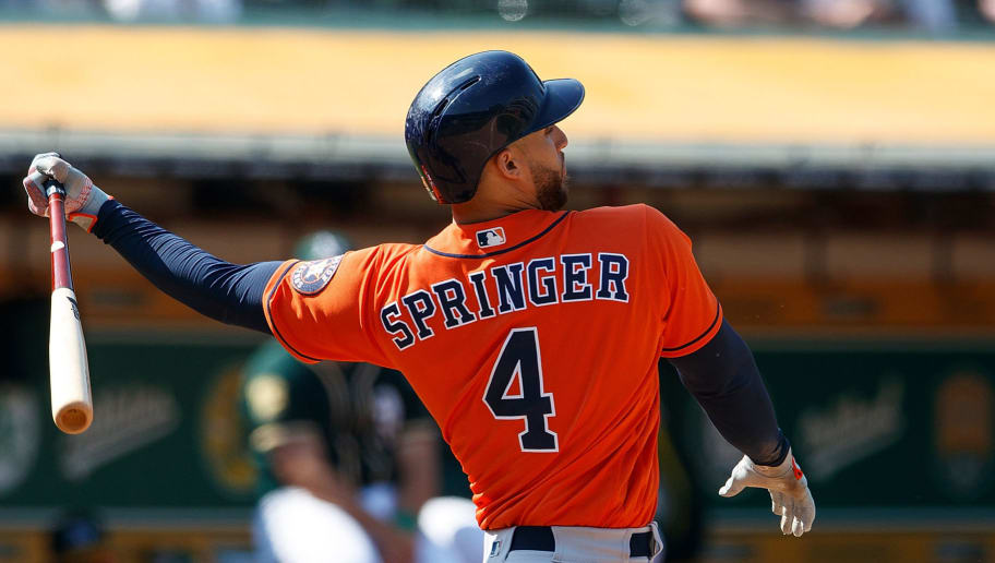 OAKLAND, CA - AUGUST 19:  George Springer #4 of the Houston Astros at bat against the Oakland Athletics during the ninth inning at the Oakland Coliseum on August 19, 2018 in Oakland, California. The Houston Astros defeated the Oakland Athletics 9-4. (Photo by Jason O. Watson/Getty Images)