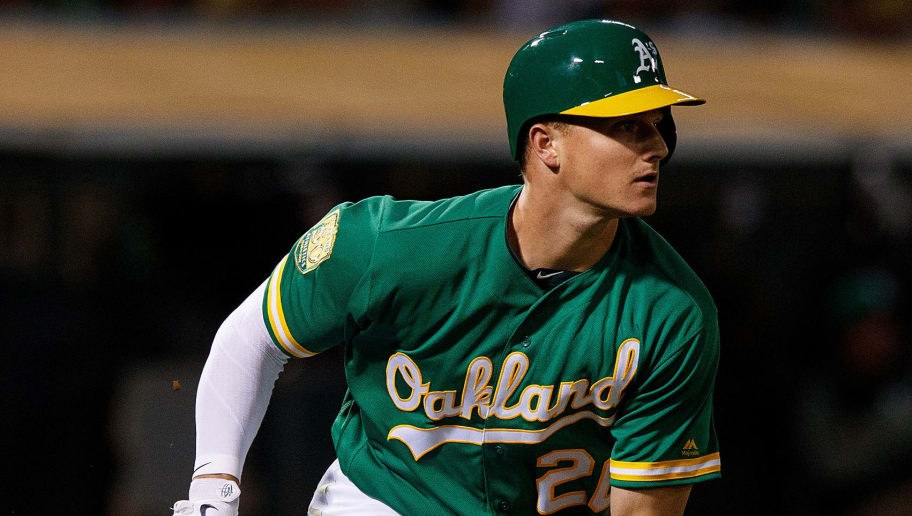 OAKLAND, CA - AUGUST 17:  Matt Chapman #26 of the Oakland Athletics at bat against the Houston Astros during the fifth inning at the Oakland Coliseum on August 17, 2018 in Oakland, California. The Oakland Athletics defeated the Houston Astros 4-3 in 10 innings. (Photo by Jason O. Watson/Getty Images)
