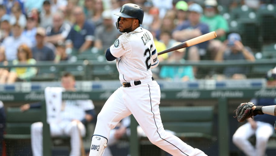 SEATTLE - AUGUST 22:  Robinson Canó #22 of the Seattle Mariners bats during the game against the Houston Astros at Safeco Field on August 22, 2018 in Seattle, Washington.  The Astros defeated the Mariners 10-7.  (Photo by Rob Leiter/MLB Photos via Getty Images)