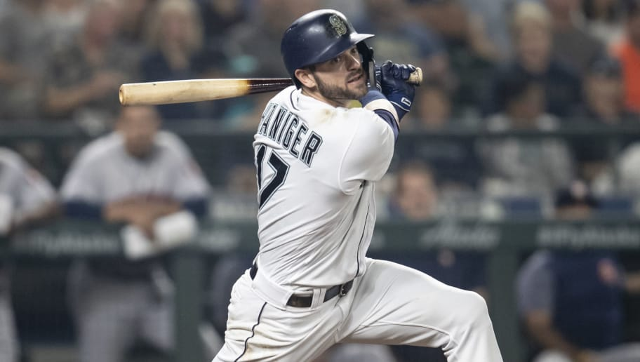 SEATTLE, WA - AUGUST 21: Mitch Haniger #17 of the Seattle Mariners takes a swing during at-bat in a game against the Houston Astros at Safeco Field on August 21, 2018 in Seattle, Washington. The Astros won the game 3-2. (Photo by Stephen Brashear/Getty Images)
