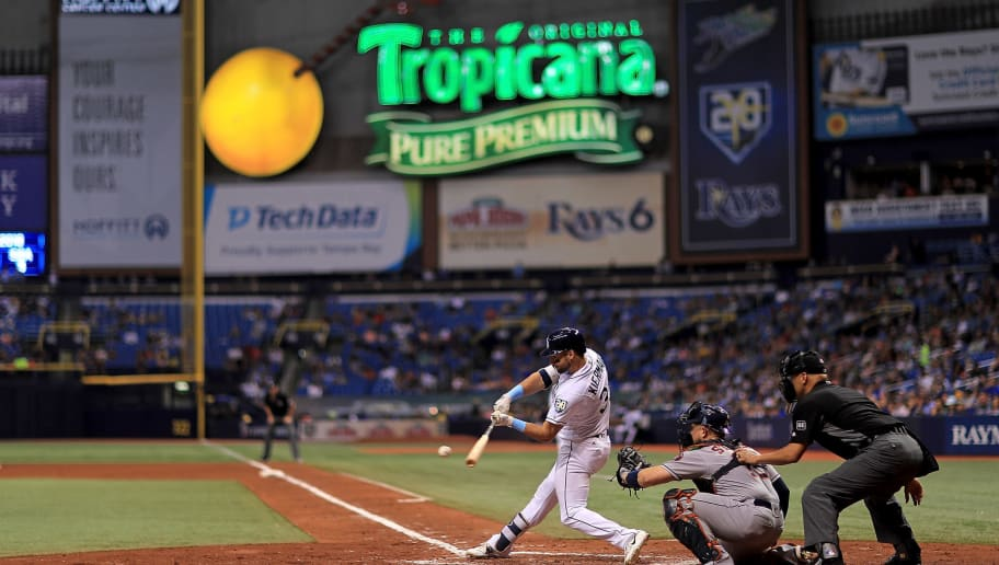 ST PETERSBURG, FL - JUNE 29: Kevin Kiermaier #39 of the Tampa Bay Rays hits during a game against the Houston Astros at Tropicana Field on June 29, 2018 in St Petersburg, Florida.  (Photo by Mike Ehrmann/Getty Images)