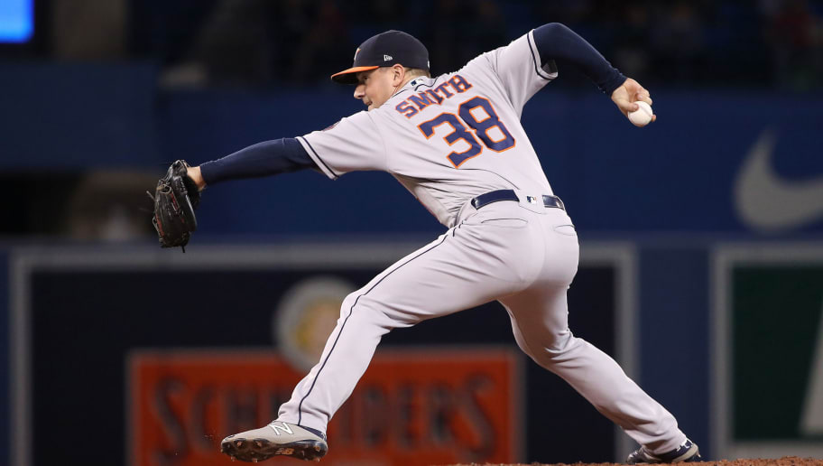 TORONTO, ON - SEPTEMBER 24: Joe Smith #38 of the Houston Astros delivers a pitch in the sixth inning during MLB game action against the Toronto Blue Jays at Rogers Centre on September 24, 2018 in Toronto, Canada. (Photo by Tom Szczerbowski/Getty Images)