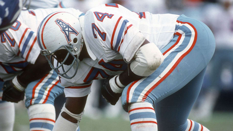 BALTIMORE, MD - OCTOBER 14:  Leon Gray #74 of the Houston Oilers in action against against the Baltimore Colts during an NFL football game October 14, 1979 at Memorial Stadium in Baltimore, Maryland.  Gray played for the Oilers from 1979-81. (Photo by Focus on Sport/Getty Images)