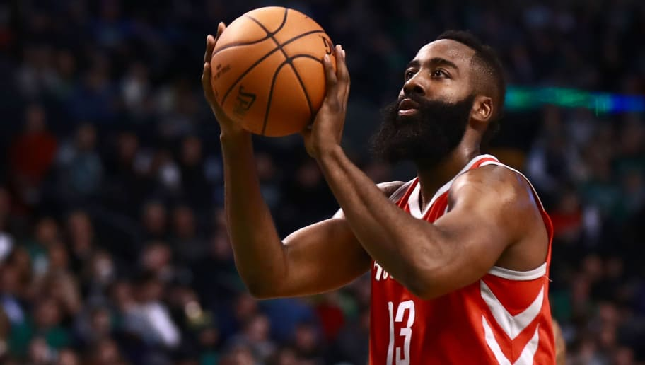 BOSTON, MA - DECEMBER 28:  James Harden #13 of the Houston Rockets shoots a technical foul free throw during the first quarter of the game against the Boston Celtics at TD Garden on December 28, 2017 in Boston, Massachusetts. NOTE TO USER: User expressly acknowledges and agrees that, by downloading and or using this photograph, User is consenting to the terms and conditions of the Getty Images License Agreement.  (Photo by Omar Rawlings/Getty Images)