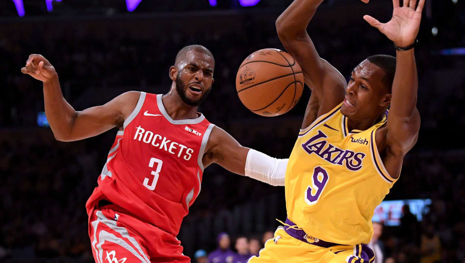 LOS ANGELES, CA - OCTOBER 20:  Chris Paul #3 of the Houston Rockets reacts to a foul from Rajon Rondo #9 of the Los Angeles Lakers during the second quarter at Staples Center on October 20, 2018 in Los Angeles, California.  (Photo by Harry How/Getty Images)