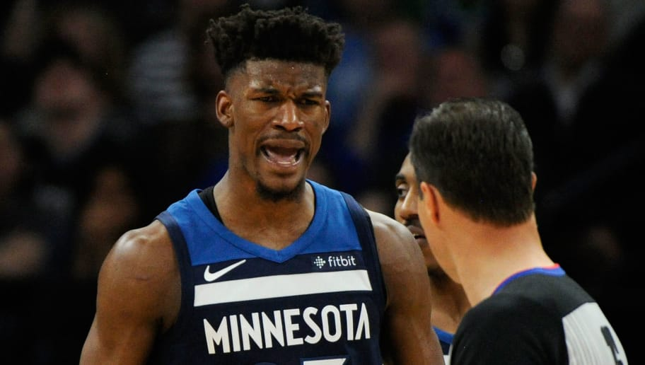 MINNEAPOLIS, MN - APRIL 23: Jimmy Butler #23 of the Minnesota Timberwolves reacts to being called for a foul against the Houston Rockets during the third quarter in Game Four of Round One of the 2018 NBA Playoffs on April 23, 2018 at the Target Center in Minneapolis, Minnesota. The Rockets defeated the Timberwolves 119-100. NOTE TO USER: User expressly acknowledges and agrees that, by downloading and or using this Photograph, user is consenting to the terms and conditions of the Getty Images License Agreement. (Photo by Hannah Foslien/Getty Images)