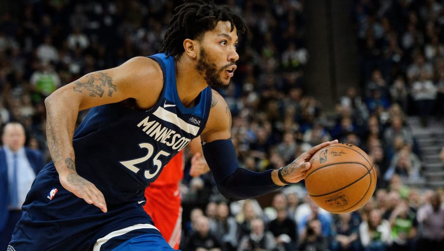 MINNEAPOLIS, MN - APRIL 21: Derrick Rose #25 of the Minnesota Timberwolves drives to the basket against the Houston Rockets in Game Three of Round One of the 2018 NBA Playoffs on April 21, 2018 at the Target Center in Minneapolis, Minnesota. The Timberwolves defeated 121-105. NOTE TO USER: User expressly acknowledges and agrees that, by downloading and or using this Photograph, user is consenting to the terms and conditions of the Getty Images License Agreement. (Photo by Hannah Foslien/Getty Images)