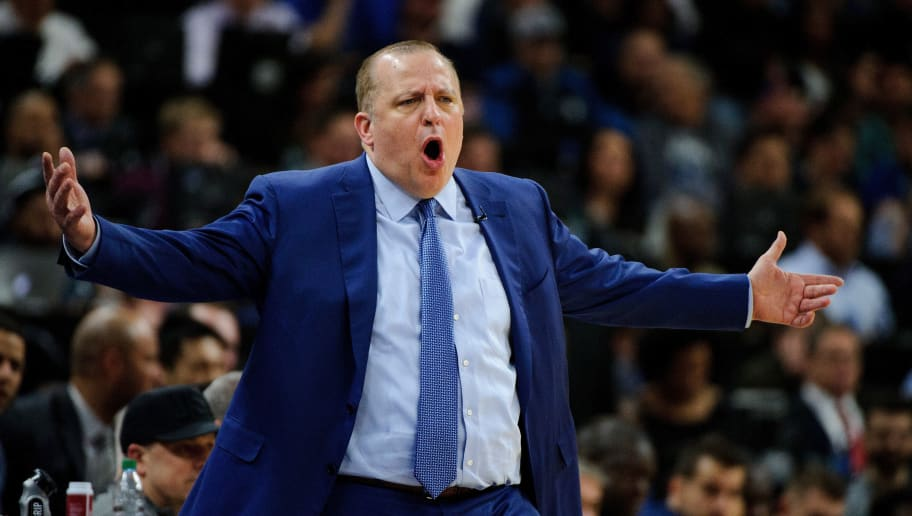 MINNEAPOLIS, MN - APRIL 21: Head coach Tom Thibodeau of the Minnesota Timberwolves reacts to a call as his team play against the Houston Rockets in Game Three of Round One of the 2018 NBA Playoffs on April 21, 2018 at the Target Center in Minneapolis, Minnesota. The Timberwolves defeated 121-105. NOTE TO USER: User expressly acknowledges and agrees that, by downloading and or using this Photograph, user is consenting to the terms and conditions of the Getty Images License Agreement. (Photo by Hannah Foslien/Getty Images)