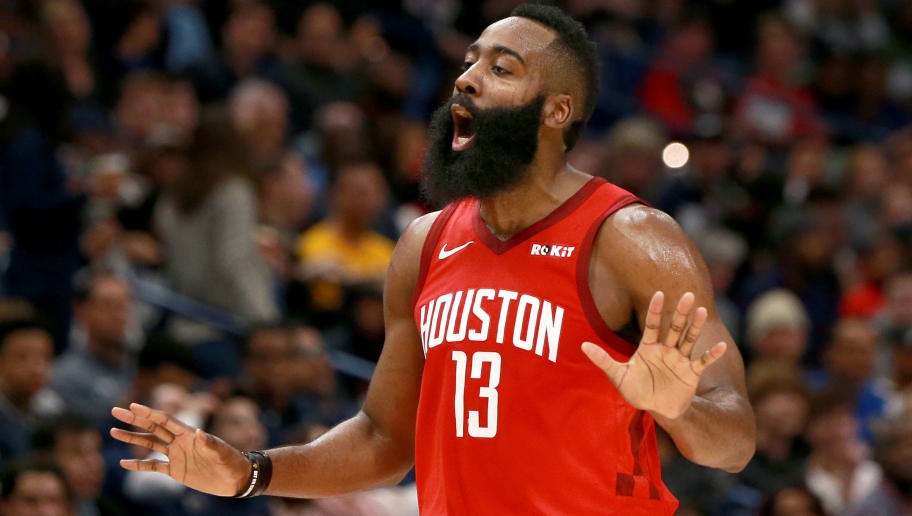 NEW ORLEANS, LOUISIANA - DECEMBER 29:  James Harden #13 of the Houston Rockets reacts to a call during a NBA game against the New Orleans Pelicans at the Smoothie King Center on December 29, 2018 in New Orleans, Louisiana. NOTE TO USER: User expressly acknowledges and agrees that, by downloading and or using this photograph, User is consenting to the terms and conditions of the Getty Images License Agreement.  (Photo by Sean Gardner/Getty Images)