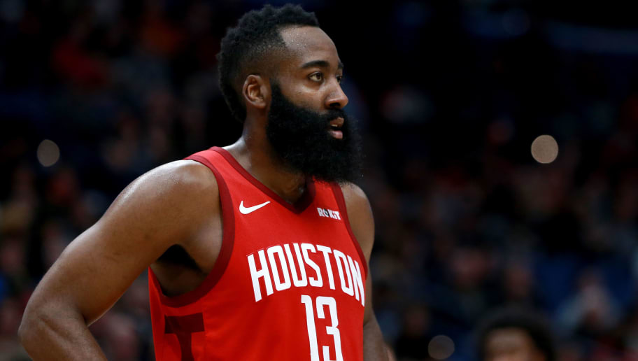 NEW ORLEANS, LOUISIANA - DECEMBER 29:  James Harden #13 of the Houston Rockets stands on the court during a NBA game against the New Orleans Pelicans at the Smoothie King Center on December 29, 2018 in New Orleans, Louisiana. NOTE TO USER: User expressly acknowledges and agrees that, by downloading and or using this photograph, User is consenting to the terms and conditions of the Getty Images License Agreement.  (Photo by Sean Gardner/Getty Images)