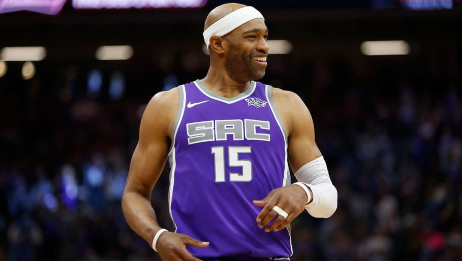 SACRAMENTO, CA - APRIL 11: Vince Carter #15 of the Sacramento Kings looks on during the game against the Houston Rockets at Golden 1 Center on April 11, 2018 in Sacramento, California. NOTE TO USER: User expressly acknowledges and agrees that, by downloading and or using this photograph, User is consenting to the terms and conditions of the Getty Images License Agreement. (Photo by Lachlan Cunningham/Getty Images)