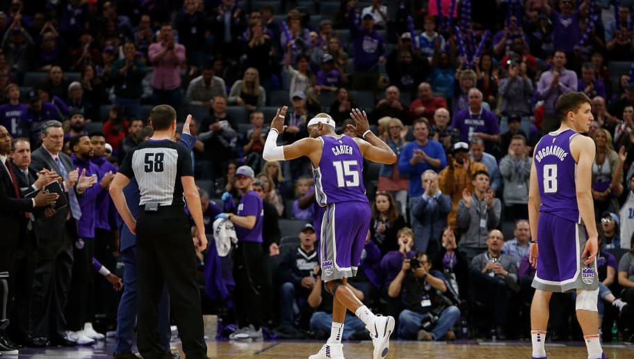 SACRAMENTO, CA - APRIL 11: Vince Carter #15 of the Sacramento Kings acknowledges the fans as he leaves the game against the Houston Rockets at Golden 1 Center on April 11, 2018 in Sacramento, California. NOTE TO USER: User expressly acknowledges and agrees that, by downloading and or using this photograph, User is consenting to the terms and conditions of the Getty Images License Agreement. (Photo by Lachlan Cunningham/Getty Images)