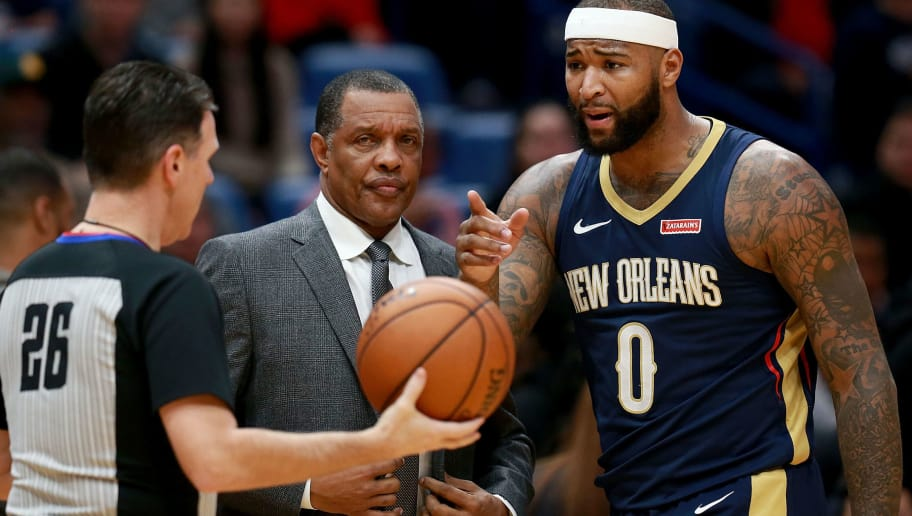NEW ORLEANS, LA - JANUARY 26:  DeMarcus Cousins #0 of the New Orleans Pelicans argues a call with referee Pat Fraher #26 during a NBA game against the Houston Rockets at the Smoothie King Center on January 26, 2018 in New Orleans, Louisiana. NOTE TO USER: User expressly acknowledges and agrees that, by downloading and or using this photograph, User is consenting to the terms and conditions of the Getty Images License Agreement.  (Photo by Sean Gardner/Getty Images)