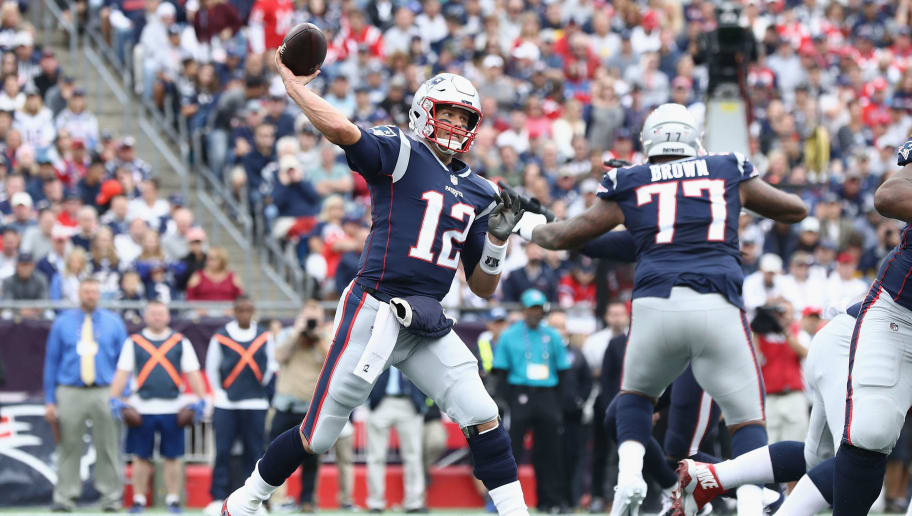 FOXBOROUGH, MA - SEPTEMBER 09:  Tom Brady #12 of the New England Patriots throws a pass during the first half against the Houston Texans at Gillette Stadium on September 9, 2018 in Foxborough, Massachusetts.  (Photo by Maddie Meyer/Getty Images)