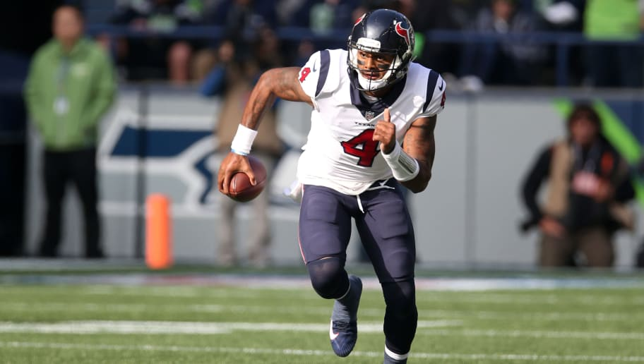 SEATTLE, WA - OCTOBER 29:  Deshaun Watson #4 of the Houston Texans runs with the ball during the game against the Seattle Seahawks at CenturyLink Field on October 29, 2017 in Seattle, Washington.  The Seahawks defeated the Texans 41-38.  (Photo by Rob Leiter via Getty Images)