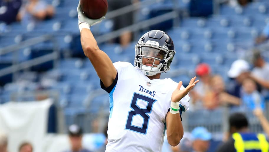 NASHVILLE, TN - SEPTEMBER 16:  Marcus Mariota #8 of the Tennessee Titans throws a pass before the game against the Houston Texans at Nissan Stadium on September 16, 2018 in Nashville, Tennessee.  (Photo by Andy Lyons/Getty Images)