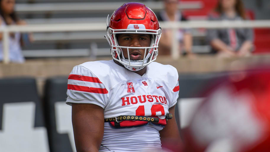 LUBBOCK, TX - SEPTEMBER 15: Ed Oliver #10 of the Houston Cougars on the field before the game against the Texas Tech Red Raiders on September 15, 2018 at Jones AT&T Stadium in Lubbock, Texas. Texas Tech won the game 63-49. (Photo by John Weast/Getty Images)