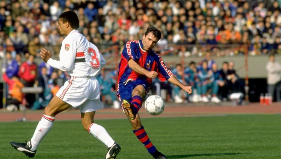 Hristo Stoichkov of Barcelona and Adilson of Sao Paulo
