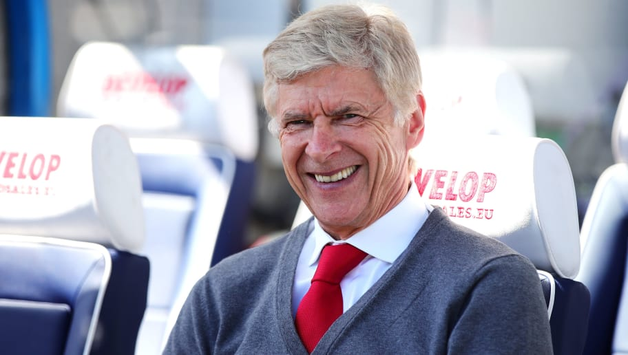 HUDDERSFIELD, ENGLAND - MAY 13: Arsenal manager Arsene Wenger looks on during the Premier League match between Huddersfield Town and Arsenal at John Smith's Stadium on May 13, 2018 in Huddersfield, England. (Photo by Chris Brunskill Ltd/Getty Images)