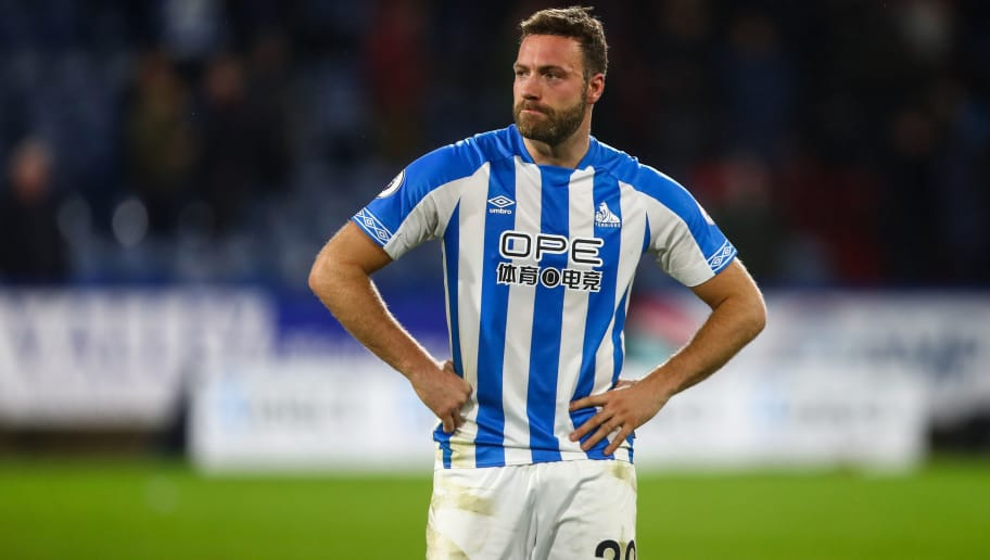 HUDDERSFIELD, ENGLAND - DECEMBER 01: A dejected Laurent Depoitre of Huddersfield Town at full time  during the Premier League match between Huddersfield Town and Brighton & Hove Albion at John Smith's Stadium on December 1, 2018 in Huddersfield, United Kingdom. (Photo by Robbie Jay Barratt - AMA/Getty Images)