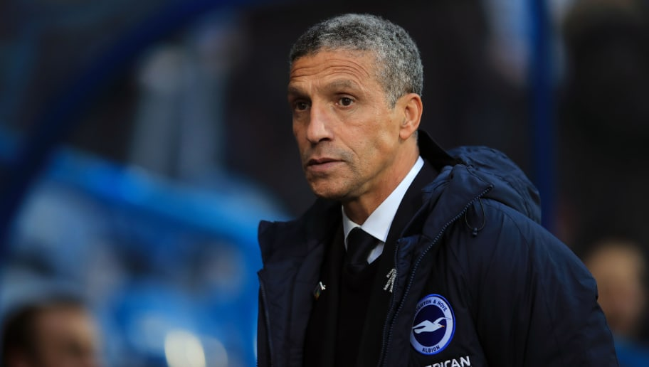 HUDDERSFIELD, ENGLAND - DECEMBER 01:  Chris Hughton manager of Brighton and Hove Albion during the Premier League match between Huddersfield Town and Brighton & Hove Albion at John Smith's Stadium on December 1, 2018 in Huddersfield, United Kingdom. (Photo by Marc Atkins/Getty Images)
