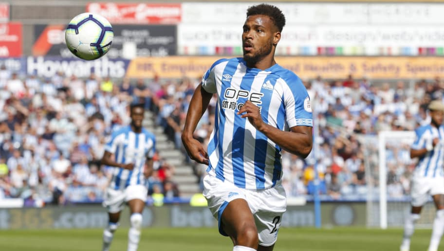 HUDDERSFIELD, ENGLAND - AUGUST 25:  Steve Mounié of Huddersfield Town during  the Premier League match between Huddersfield Town and Cardiff City at John Smith's Stadium on August 25, 2018 in Huddersfield, United Kingdom. (Photo by John Early/Getty Images)