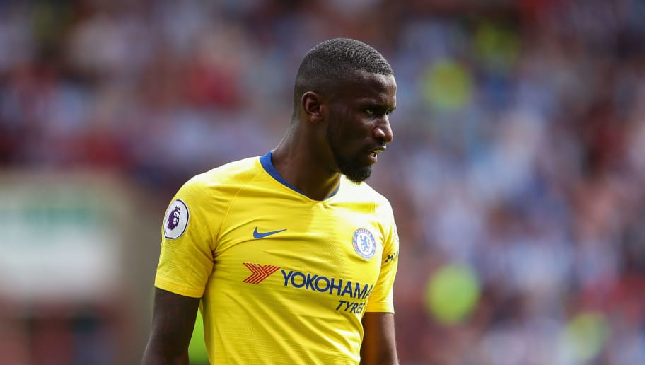 HUDDERSFIELD, ENGLAND - AUGUST 11: Antonio Rudiger of Chelsea  during the Premier League match between Huddersfield Town and Chelsea FC at John Smith's Stadium on August 11, 2018 in Huddersfield, United Kingdom. (Photo by Robbie Jay Barratt - AMA/Getty Images)