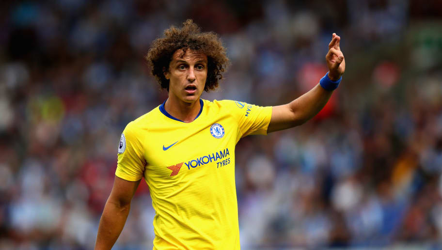 HUDDERSFIELD, ENGLAND - AUGUST 11: David Luiz of Chelsea in action during the Premier League match between Huddersfield Town and Chelsea FC at John Smith's Stadium on August 11, 2018 in Huddersfield, United Kingdom.  (Photo by Chris Brunskill/Fantasista/Getty Images)