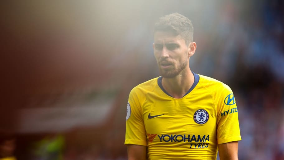 HUDDERSFIELD, ENGLAND - AUGUST 11: Jorginho of Chelsea during the Premier League match between Huddersfield Town and Chelsea FC at John Smith's Stadium on August 11, 2018 in Huddersfield, United Kingdom. (Photo by Robbie Jay Barratt - AMA/Getty Images)