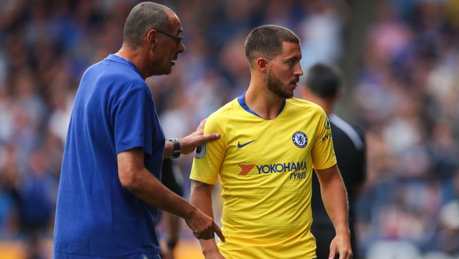 Image result for Maurizio Sarri with Eden Hazard