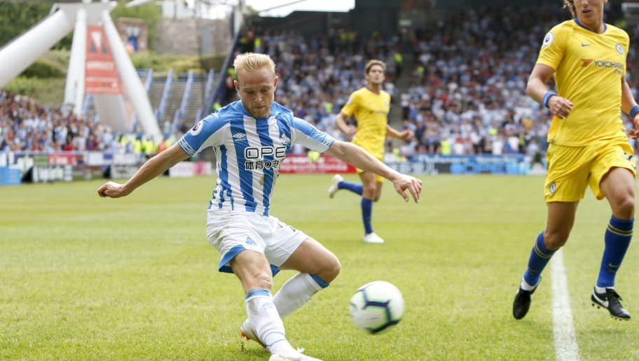 HUDDERSFIELD, ENGLAND - AUGUST 11: Alex Pritchard of Huddersfield Town during the Premier League match between Huddersfield Town and Chelsea FC at John Smith's Stadium on August 11, 2018 in Huddersfield, United Kingdom. (Photo by William Early/Getty Images)