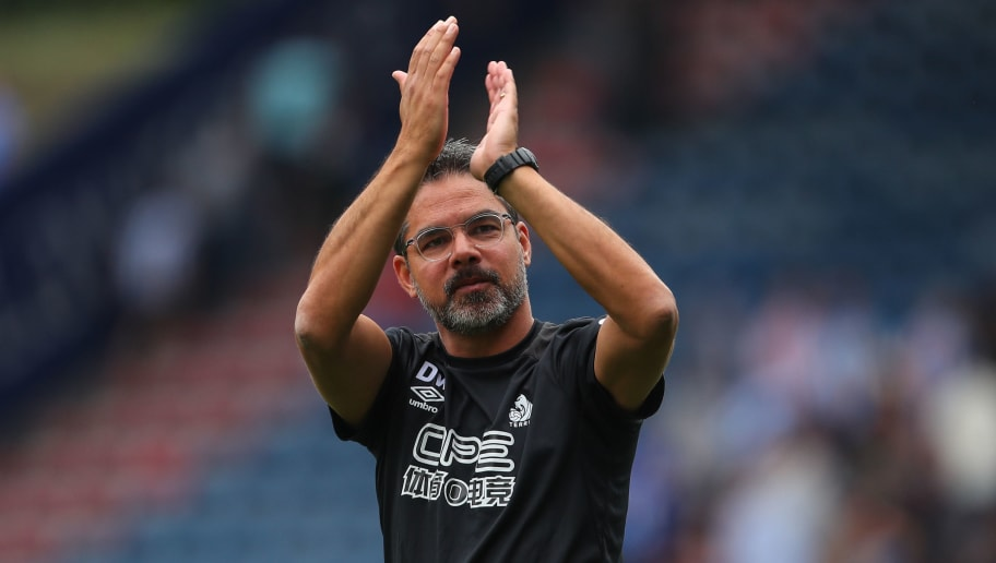 HUDDERSFIELD, ENGLAND - AUGUST 11: David Wagner head coach / manager of Huddersfield Town applauds the fans at full time  during the Premier League match between Huddersfield Town and Chelsea FC at John Smith's Stadium on August 11, 2018 in Huddersfield, United Kingdom. (Photo by Robbie Jay Barratt - AMA/Getty Images)