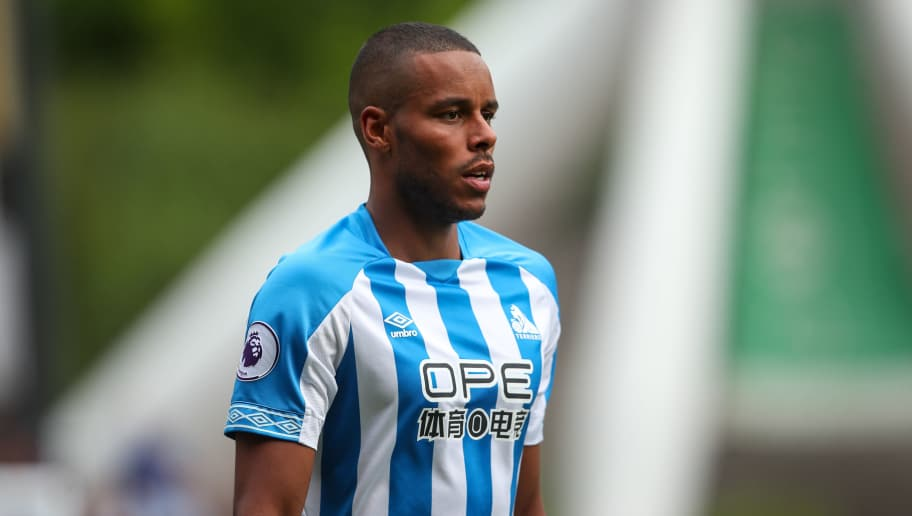 HUDDERSFIELD, ENGLAND - AUGUST 11: Mathias Zanka Jorgensen of Huddersfield Town during the Premier League match between Huddersfield Town and Chelsea FC at John Smith's Stadium on August 11, 2018 in Huddersfield, United Kingdom. (Photo by Robbie Jay Barratt - AMA/Getty Images)