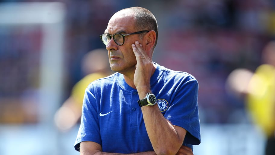 HUDDERSFIELD, ENGLAND - AUGUST 11: Maurizio Sarri head coach / manager of Chelsea during the Premier League match between Huddersfield Town and Chelsea FC at John Smith's Stadium on August 11, 2018 in Huddersfield, United Kingdom. (Photo by Robbie Jay Barratt - AMA/Getty Images)